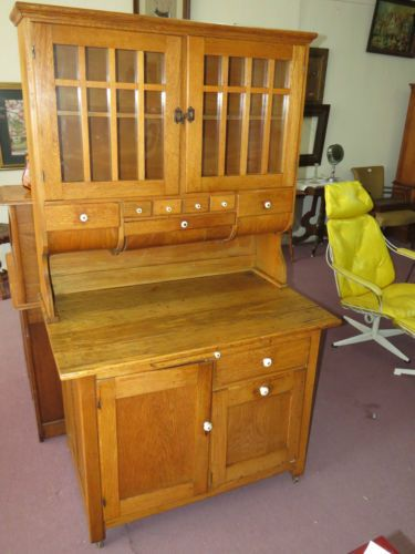 Antique Oak Hoosier Kitchen Cabinet Primitive Cupboard ...