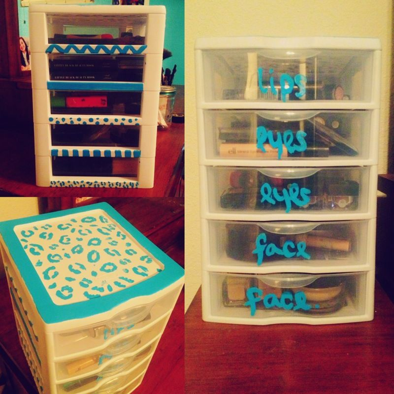 Decorated a 5-drawer Sterilite container for a sort of DIY makeup storage space  & Decorated a 5-drawer Sterilite container for a sort of DIY makeup ...