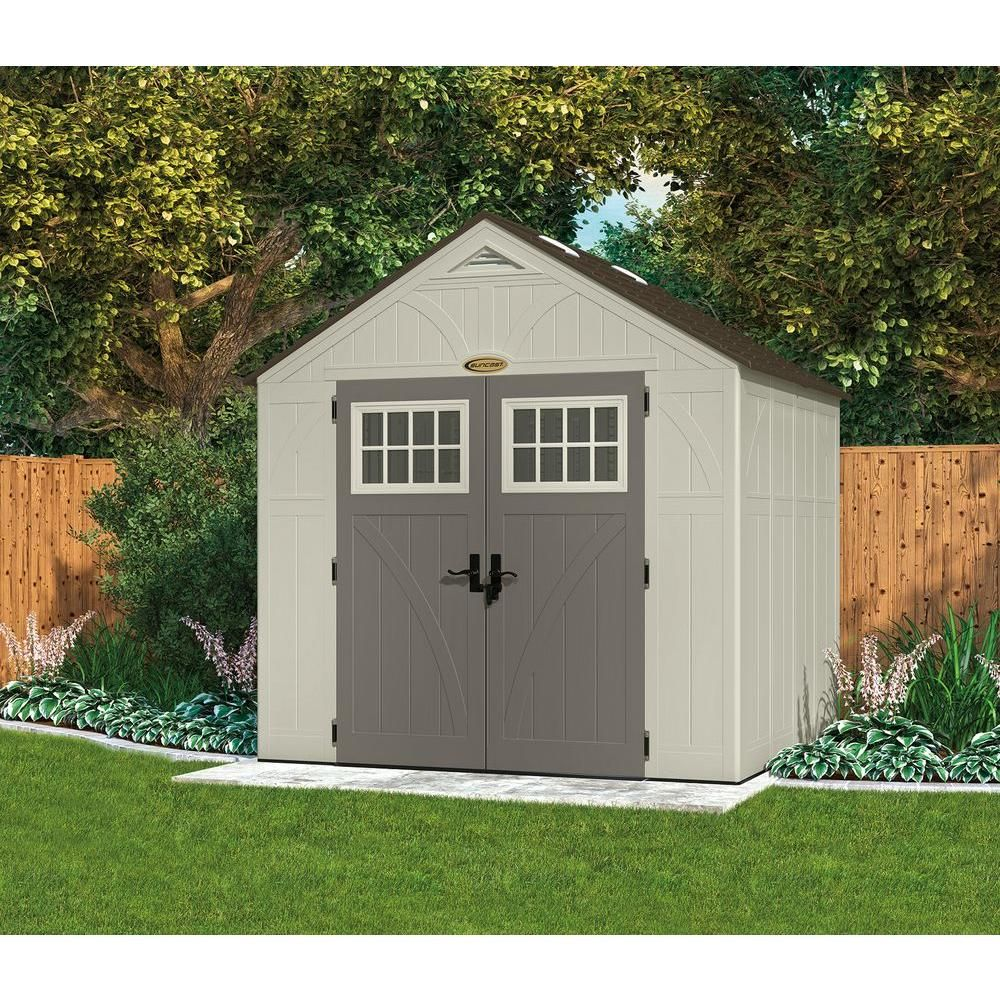 Suncast Tremont 7 Ft 1 3 4 In X 8 Ft 4 1 2 In Resin Storage Shed Bms8700 The Home Depot Building A Shed Outdoor Sheds Plastic Sheds