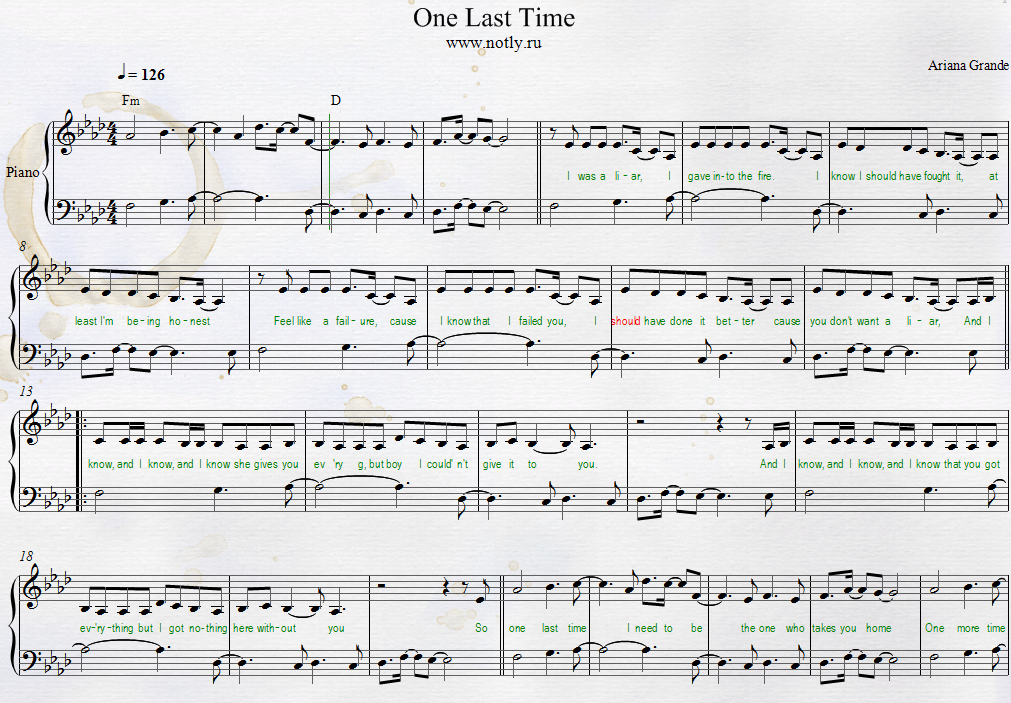 Ariana Grande — One Last Time Piano Sheet Free (Try Everything Piano)