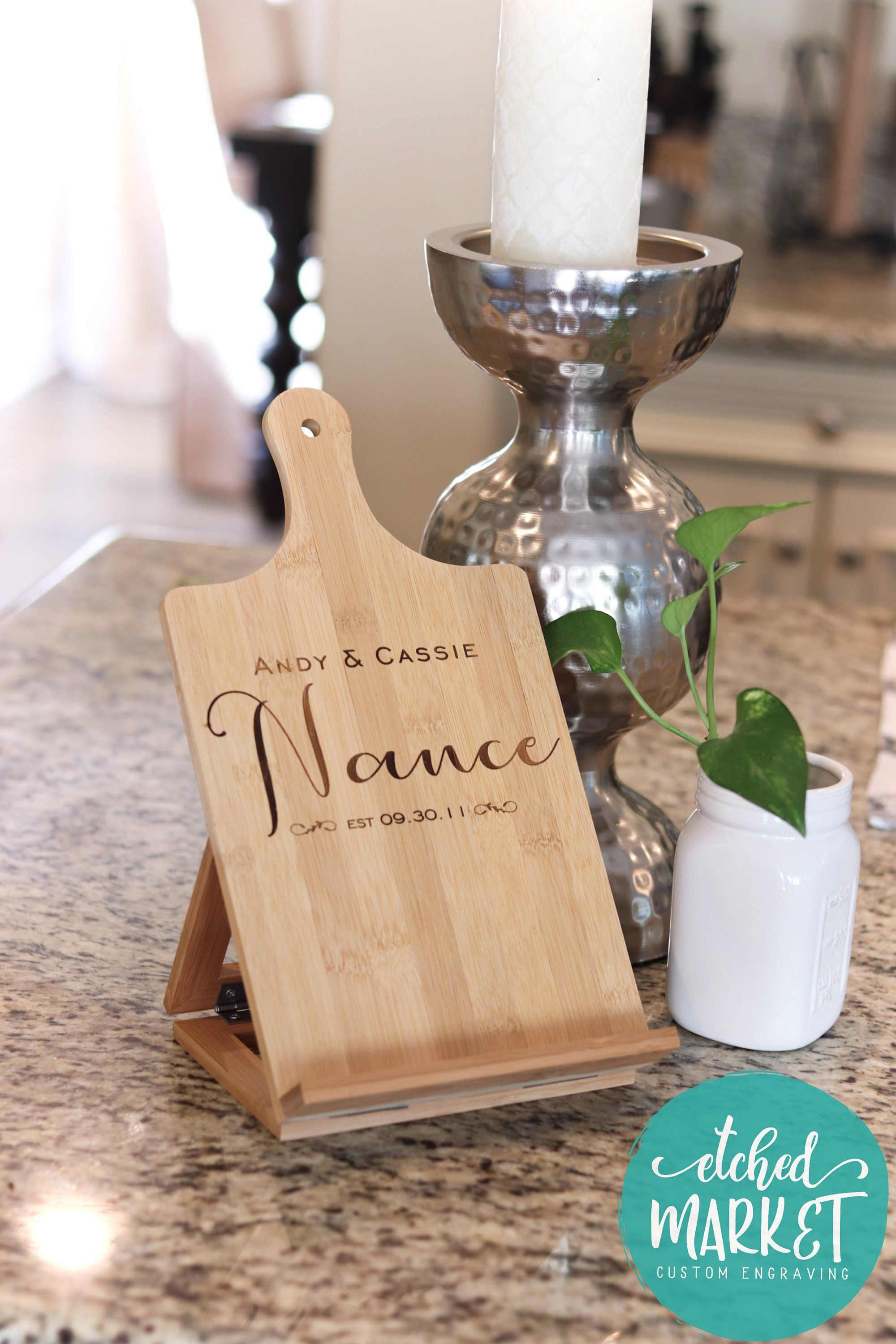 Cookbook kitchen stand personalized ipad tablet holder bamboo wood