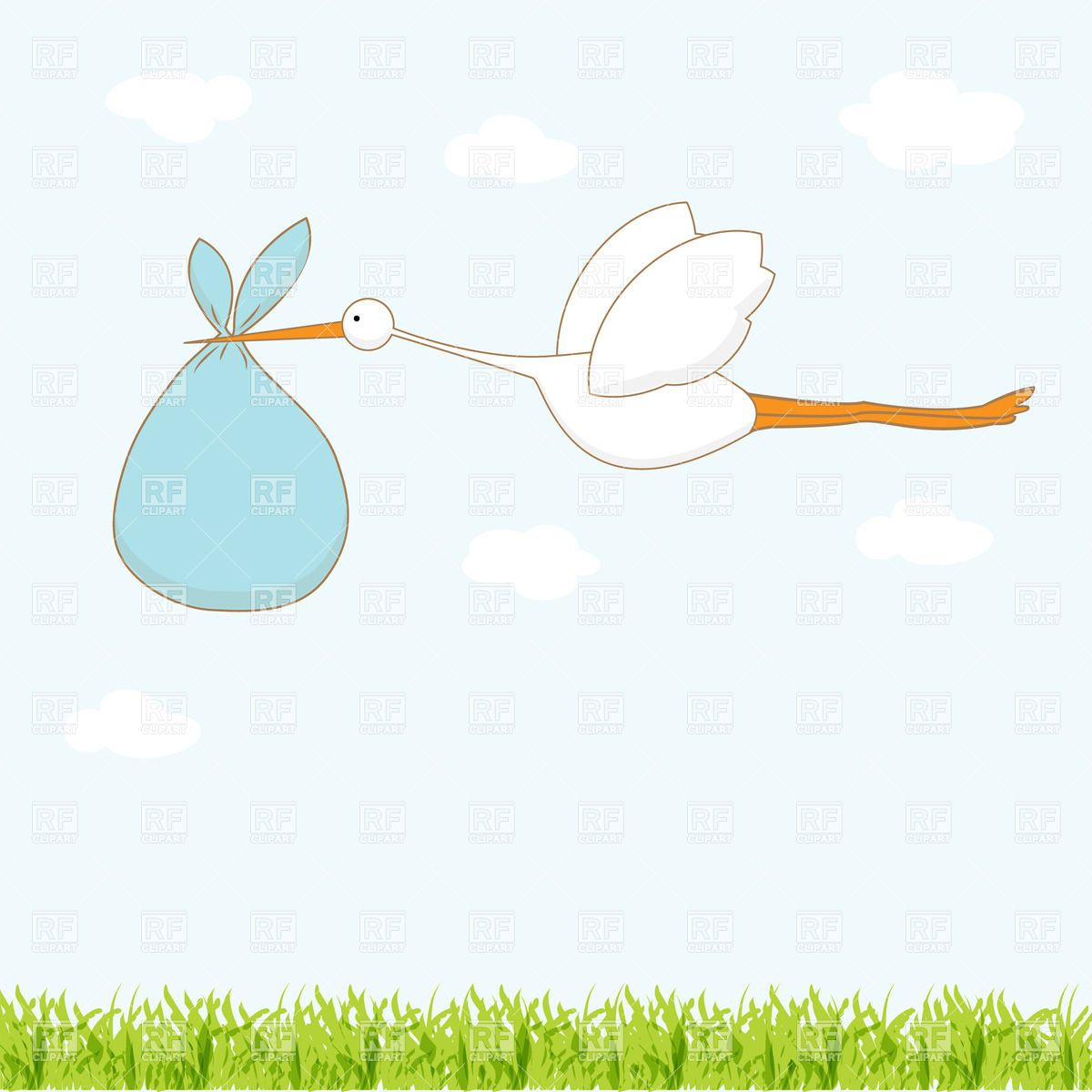 Stork Carrying Bag With A Baby 22365 Plants And Animals Download Royalty Free Vector Clipart Eps Geboorte