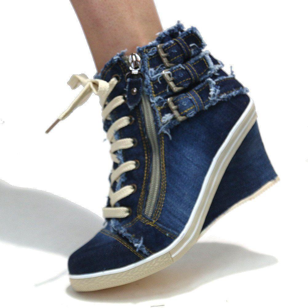 f3d4342faed Amazon.com  Women s Blue Denim Wedge Sneakers Buckle Zipper High Top Shoes   Clothing