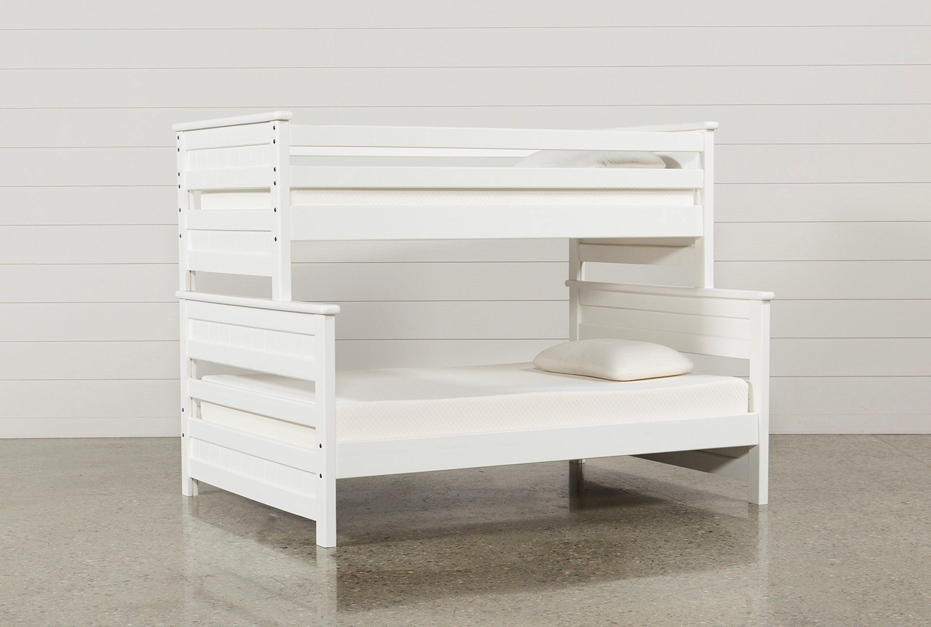 Shop For Summit White Twin Over Full Bunk Bed At Livingspaces Com Enjoy Free Store Pick Up Same Day Shipping And Free Bunk Beds Cool Bunk Beds Kids Bunk Beds White twin over full bunk bed