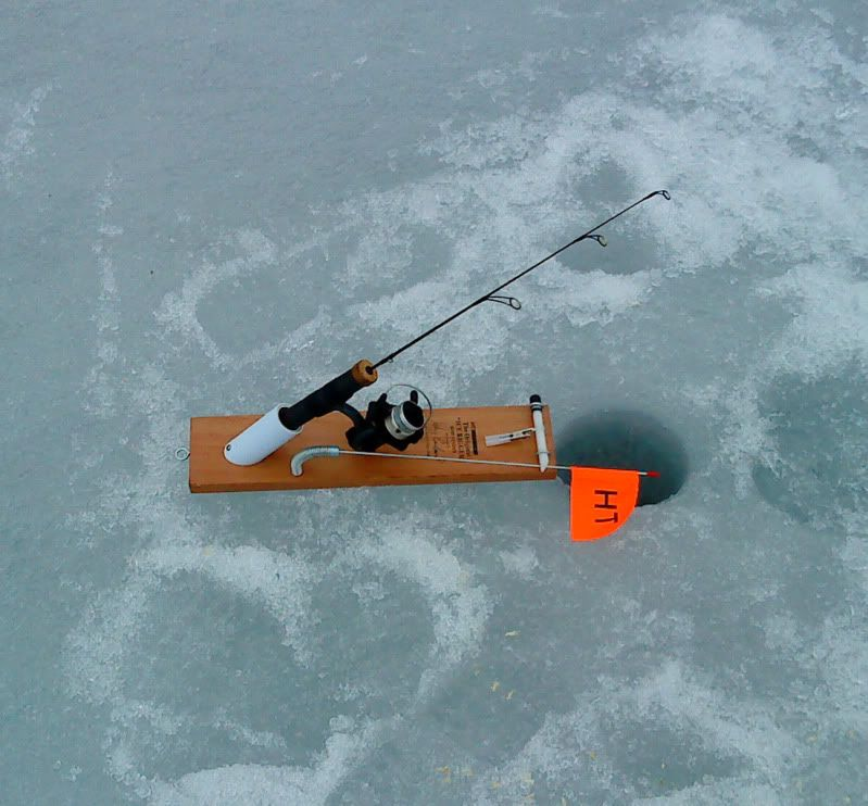 Diy ice fishing tip up google search fishing for Ice fishing tip ups