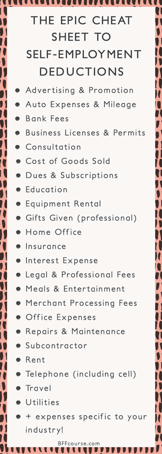 The Epic Cheatsheet to Deductions for the Self-Employed ...