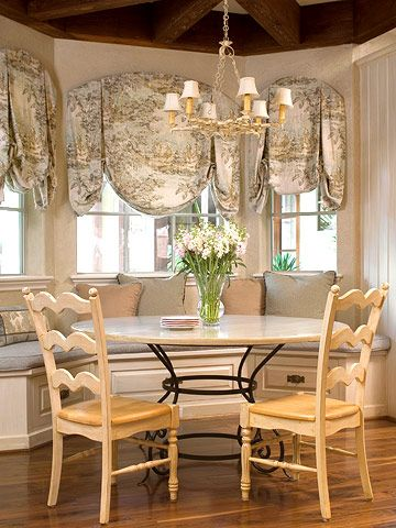 Pin By Jennifer Espenschied On Kitchen Bay Window Treatments French Country Dining Room Table French Country Dining Room