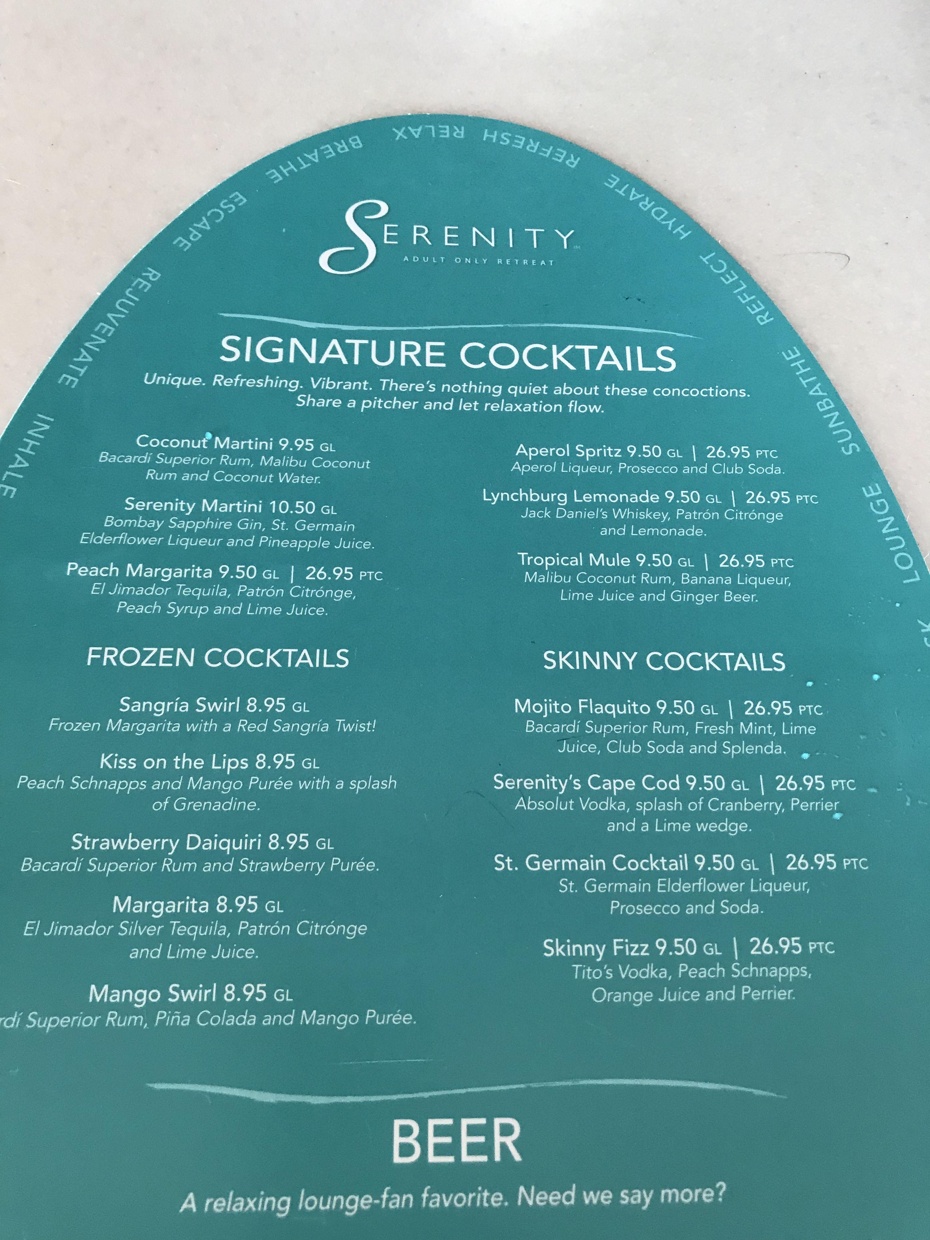 2019 Carnival Glory Serenity Bar Menu - Cocktails   Aperol ...