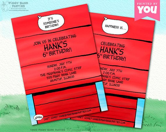 SNOOPYS Dog House Inspired Invitation by PiggyBankParties 1500 – Snoopy Party Invitations