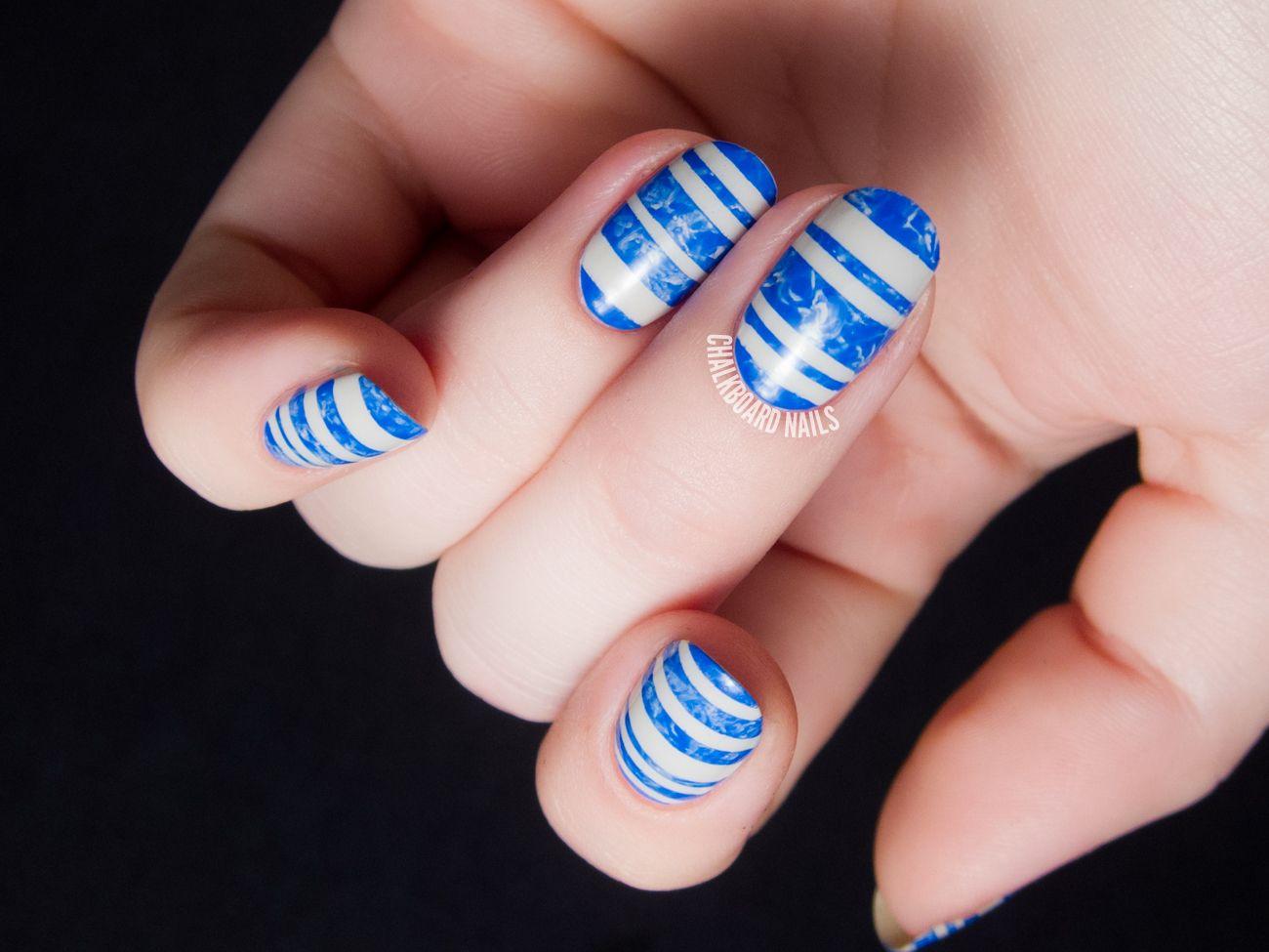 Marbled Blue Swimming Pool Stripes Chalkboard Nails Nail Nail And