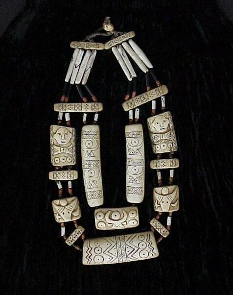 "Naga Ceremonial Necklace, Ivory | Double Strand Segmented Carved Ivory Necklace with connecting ""Nupti"" and Cobalt Glass Beads, Conch Shell Tube Beads, and Carved Bone Separator Bars ""Kaylyo-Kengyu Tribe"" (Burma-Naga Region-Unadministered) 