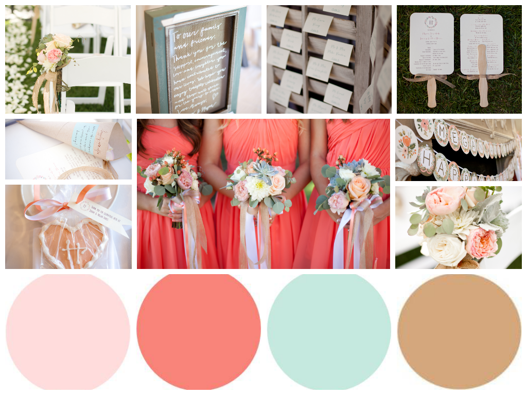 Design Coral Color Scheme blush coral robins egg blue brown wedding color palette palette