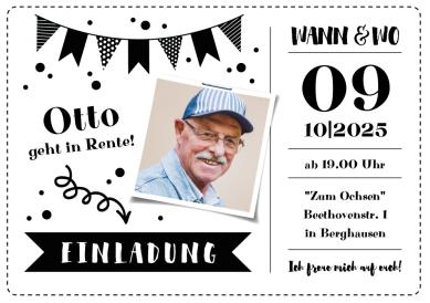 Tolle Einladungskarte Zum Rentenbeginn Ruhestandsparty Mit Foto Rentenbeginn Rentnerfeier Einladungrente Einladungpens Einladungen Einladungskarten Karten