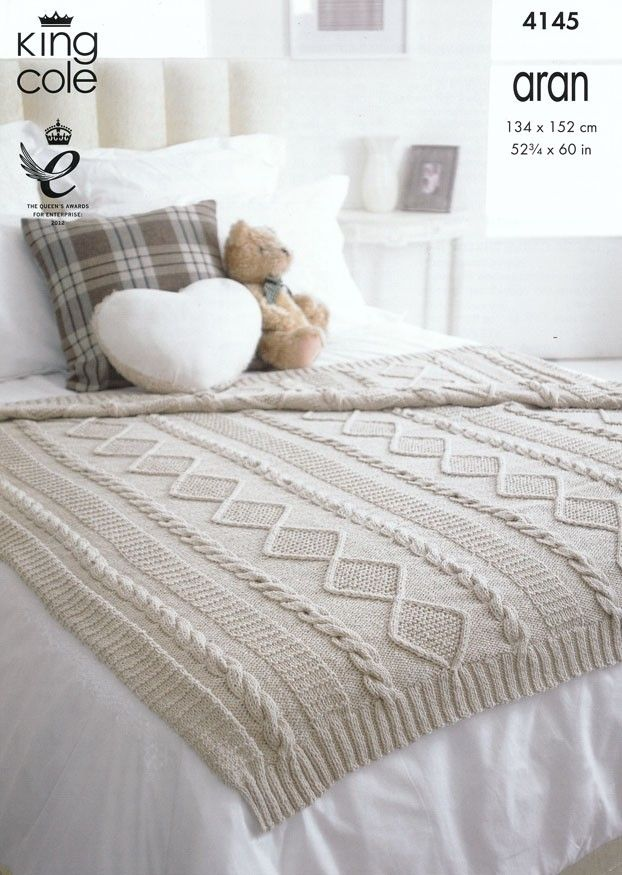 King Cole Cotton Aran Diamond Cable Throw Kit With Free Pattern ...