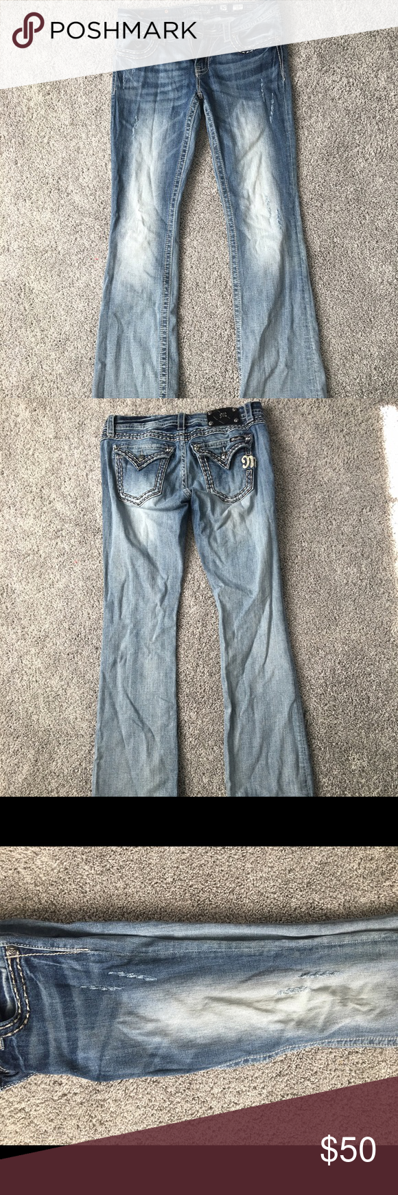 """Miss Me Jeans size 30! Only worn a handful of times! Great condition, just no longer fit. The """"rips"""" in the leg are the style of jean just to let you guys know. Size 30! Miss Me Jeans Boot Cut"""