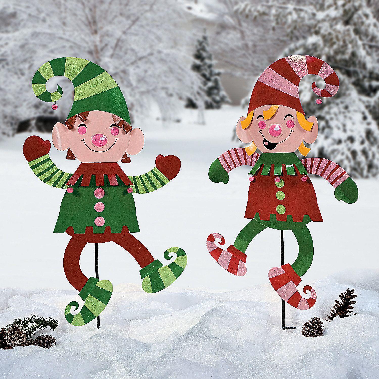 Elf Yard Stakes Orientaltrading Com Christmas Yard Art Elf Christmas Decorations Christmas Yard Decorations