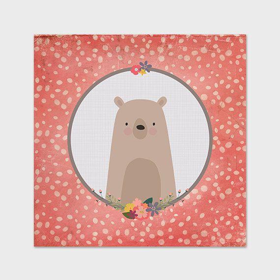 Bear Nursery Print 12x12 Printable Pink by PaperCanoePrintables