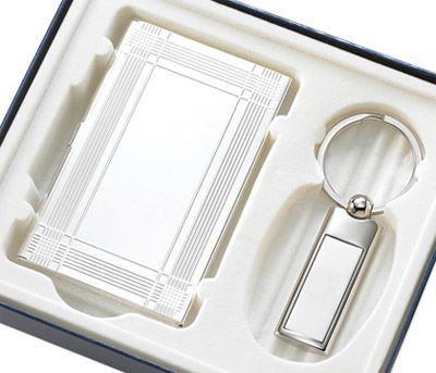 "Silver Key Ring & Silver Business Card Case Gift Set. Size: 4 15/16"" x 5 11/16"" x 15/16""  #favor #gift #cheap #weddingfavor #fashion #personalize"