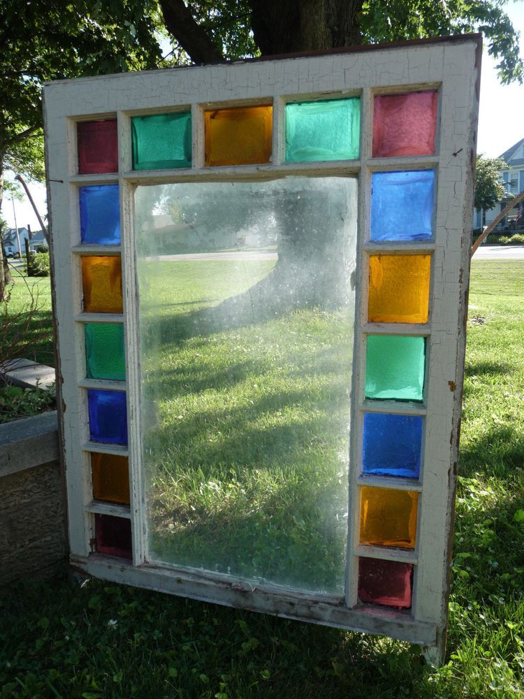 Antique Stained Glass Window Sash
