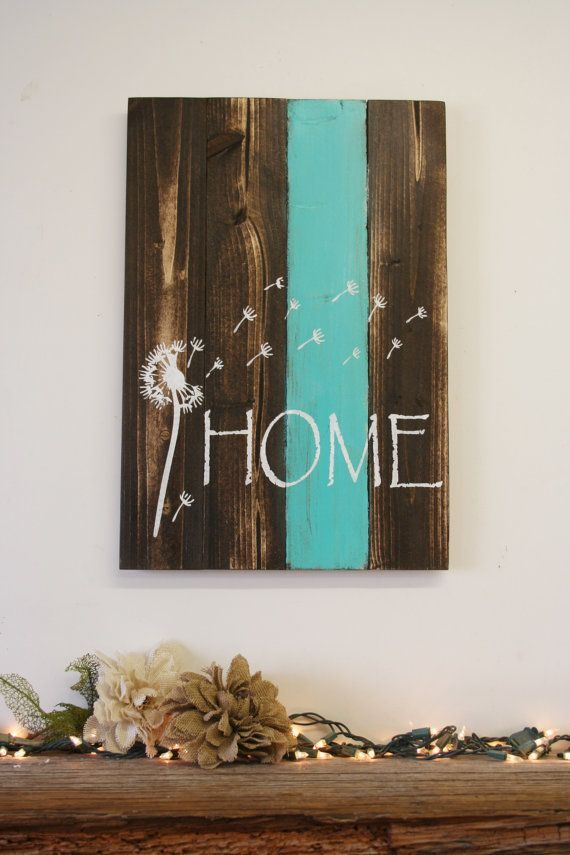 home pallet sign dandelion sign rustic home decor country home