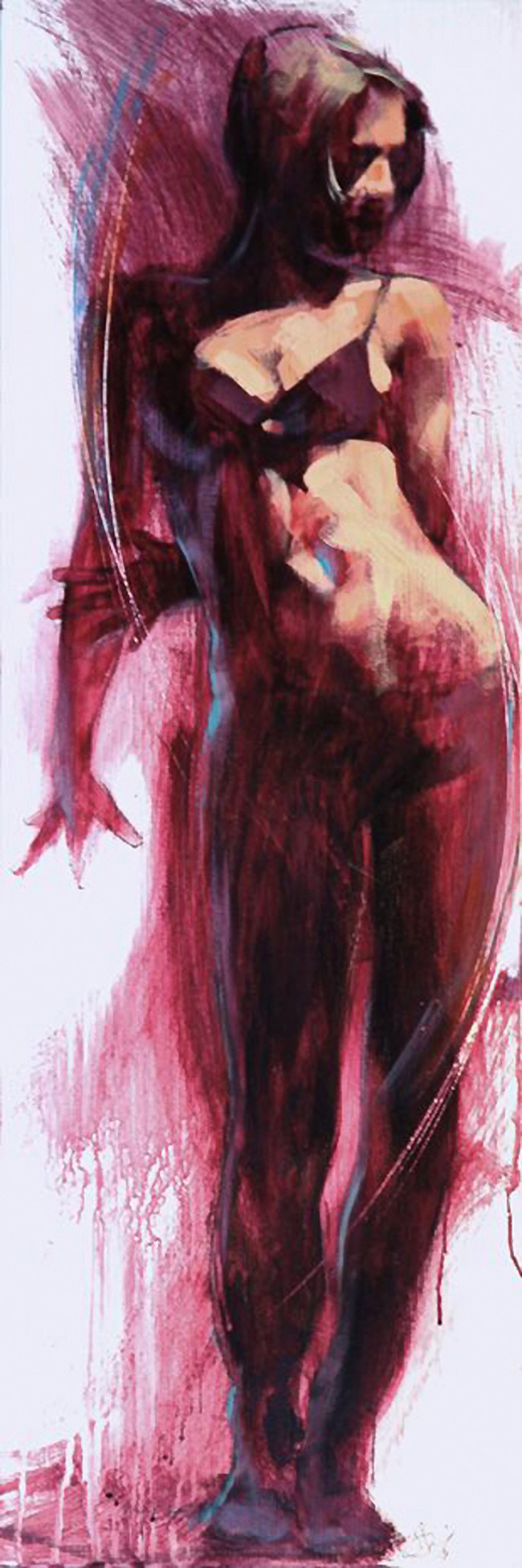 Artist: Brian Smith; Toronto, Ontario, Canada {contemporary figurative #expressionist female figure swimsuit standing woman smudged textures drips painting #loveart}