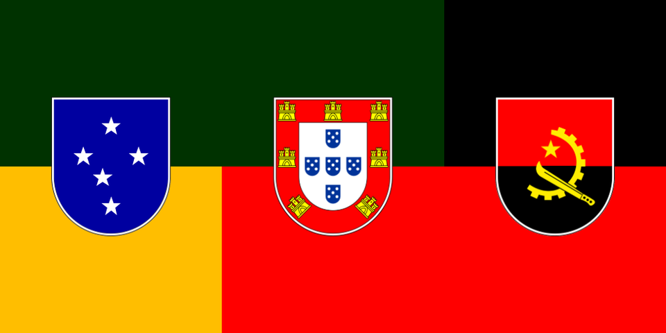 Flag For A Brazil Portugal Angola Union In The Style Of Austria Hungary Vexillology In 2020 Flag Historical Flags Angola Flag
