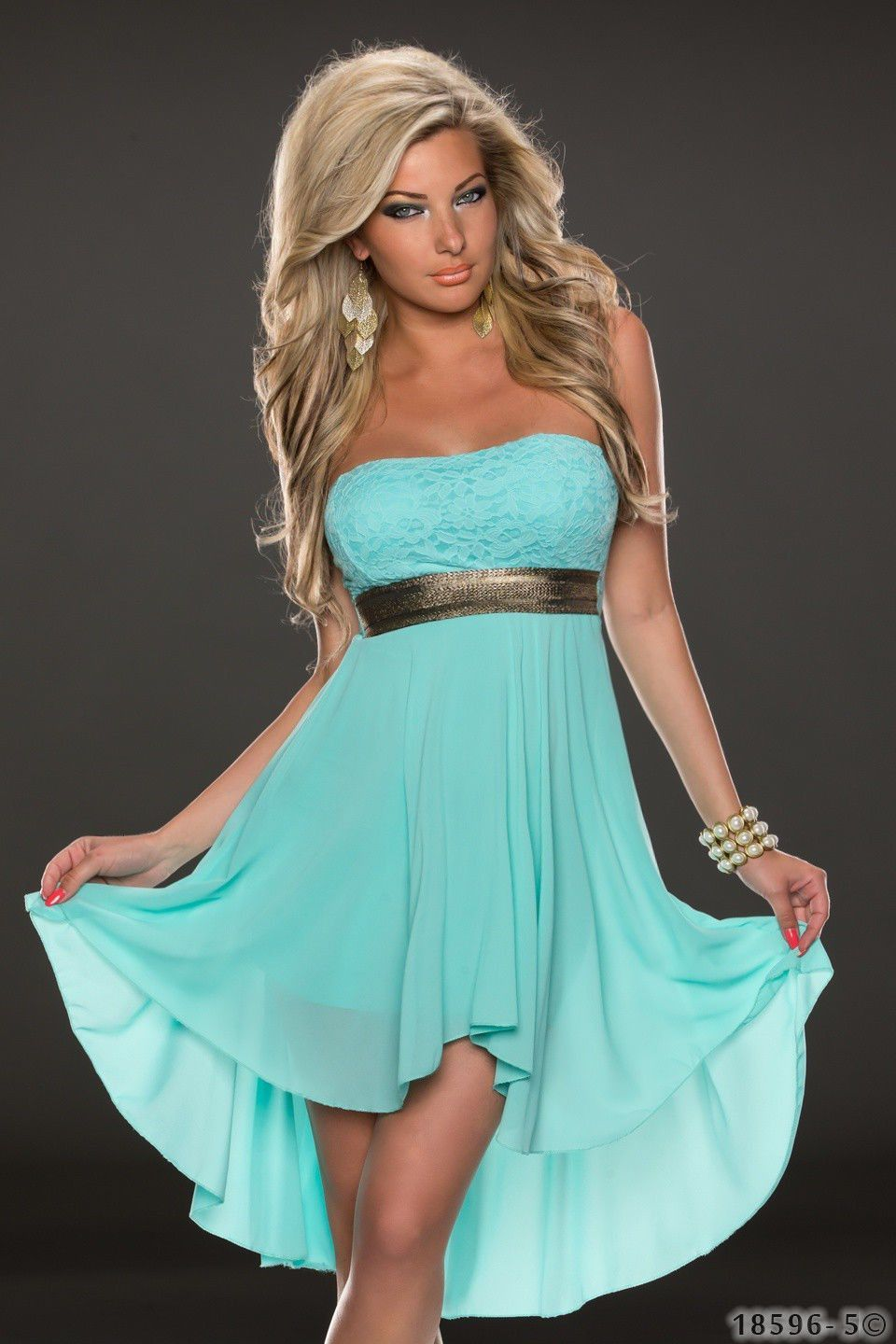 Strapless lace chiffon patchwork irregular short prom dress lace