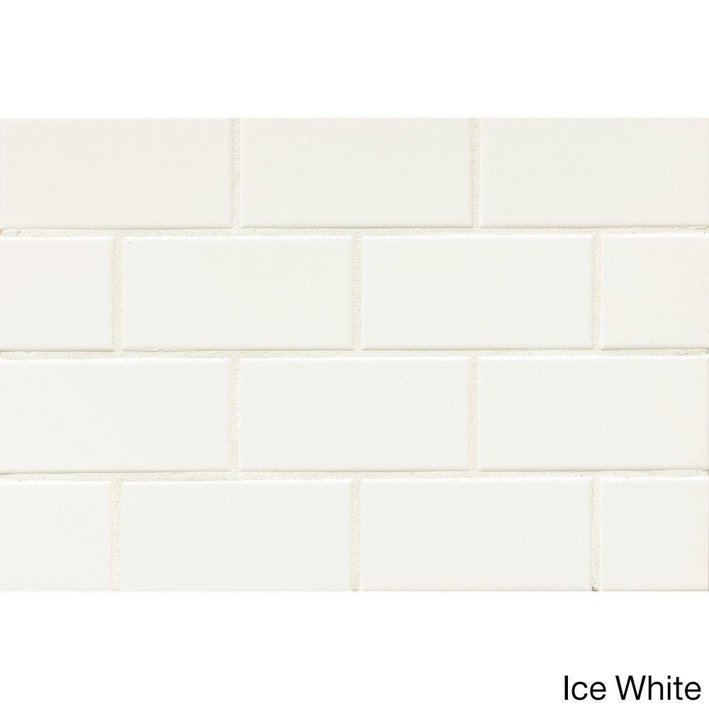 Bedrosians Tradition Matte Ceramic Tile Box Of 80 Tiles Ice White Finish Size 3 X 6