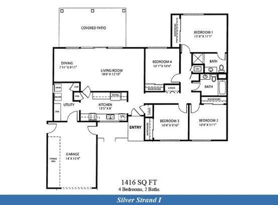 Naval Complex San Diego Silver Strand I Neighborhood 4 Bedroom 2 Bathroom Home Floor Plan Floor Plans Lincoln Military Housing Military Housing