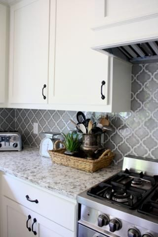 Gray And White Kitchen Farmhouse Kitchen Arabesque Tile Backsplash