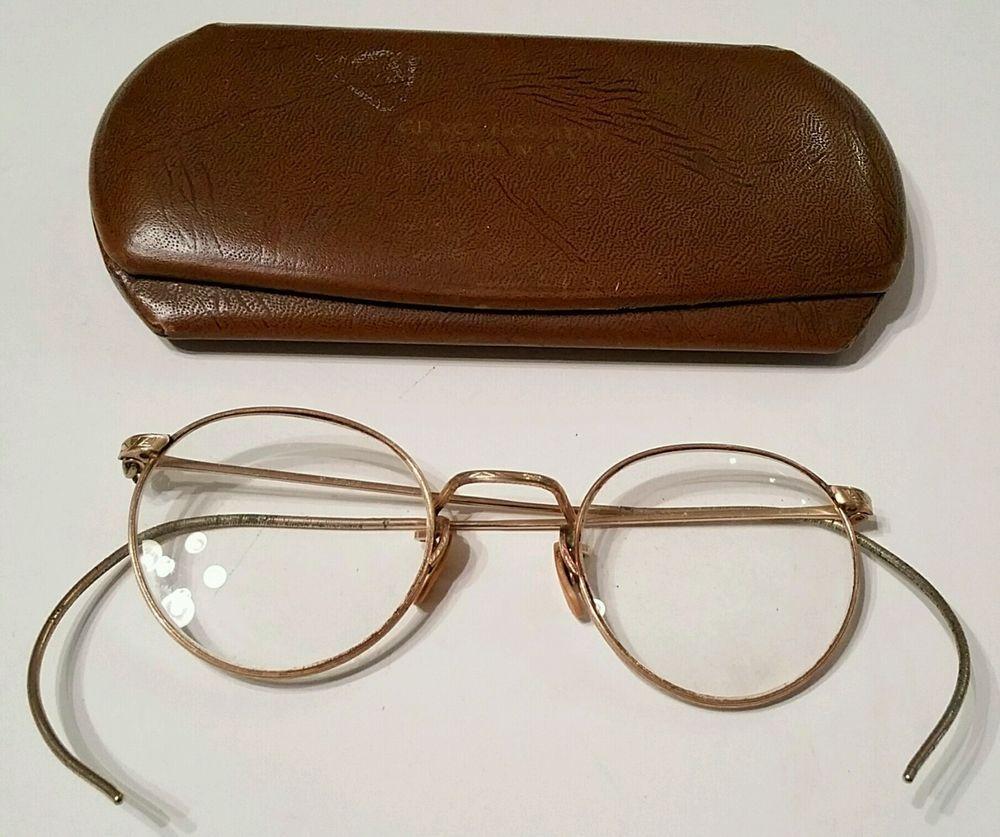 antique 12k gf gold wire rim eye glass frames granny eyeglasses wcase vintage