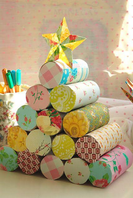 Cmo hacer un rbol de navidad con rollos de papel higinico