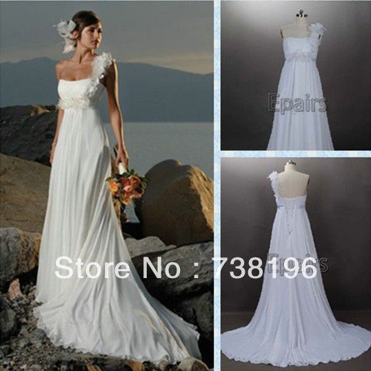 2013 Fashion High quality real images Free shipping a-line one shoulder sweetheart draped weddingdress with flowers court train