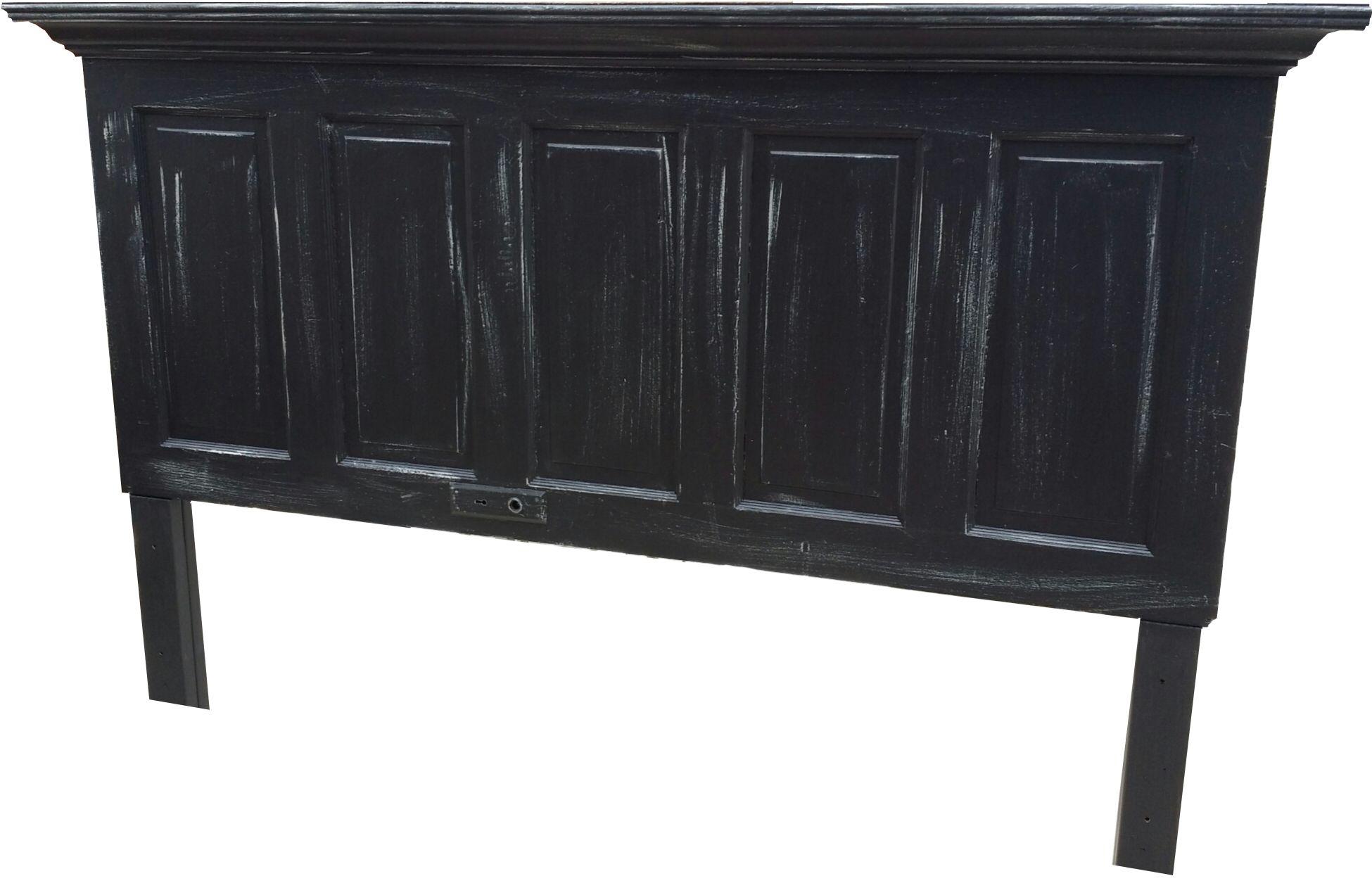 Vintage Headboards 5 Panel Onyx Black With Faux Distressing King Size Headboard Legs