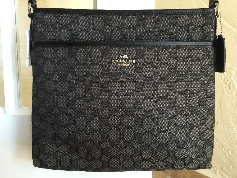 Coach F58285 Outline Signature File Bag Jacquard Black Smoke Messenger Crossbody #Coach #MessengerCrossBody