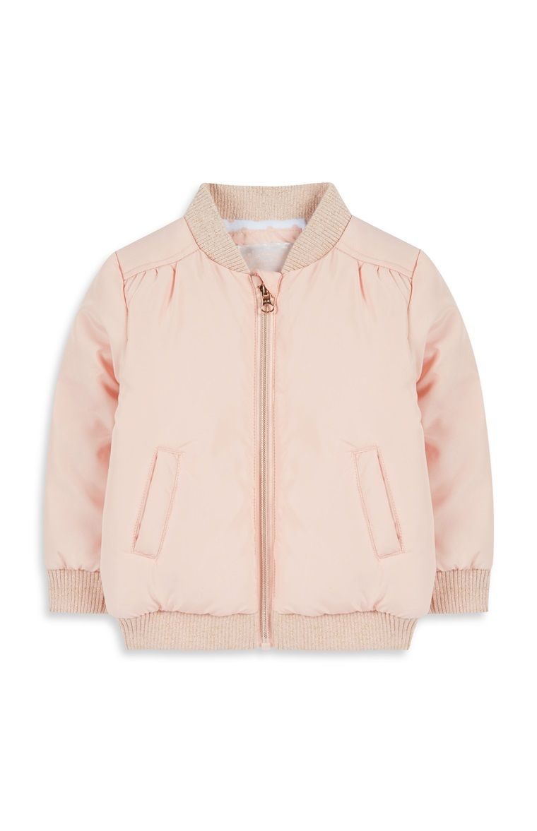Baby Girl Pale Pink Bomber Jacket
