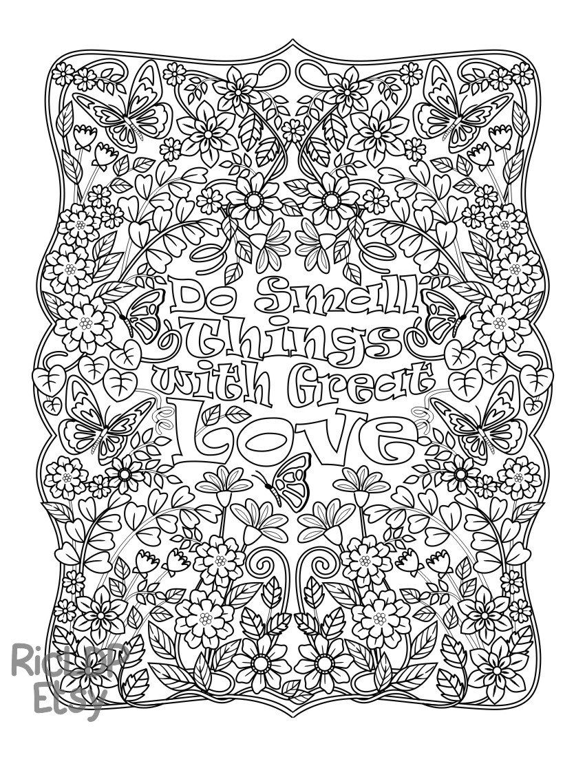 Instant Coloring Page Download Do Small Things With Great Love Printable Pdf Download Coloring Page For Grow Love Coloring Pages Color Quotes Coloring Pages