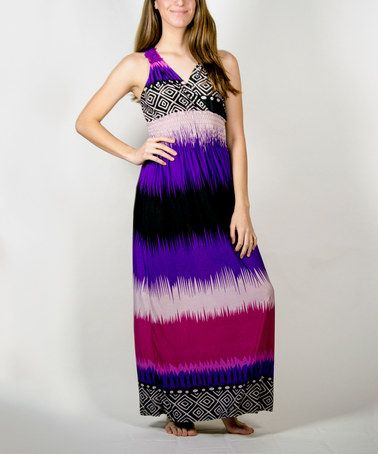 Another great find on #zulily! Purple & Fuchsia Stripe Silk-Blend Maxi Dress - Plus #zulilyfinds