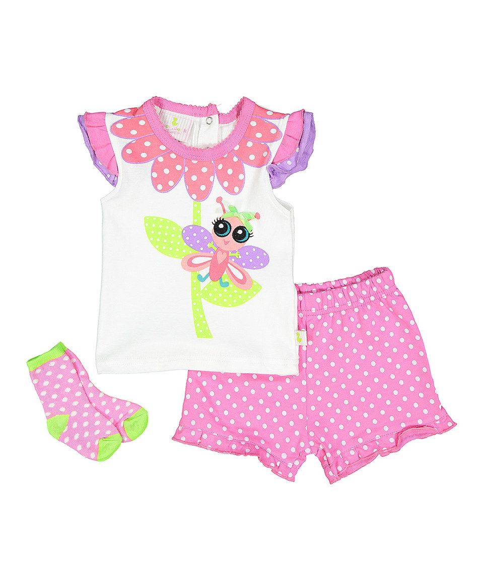 Take a look at this Pink Polka Dot Butterfly Tee Set - Infant today!