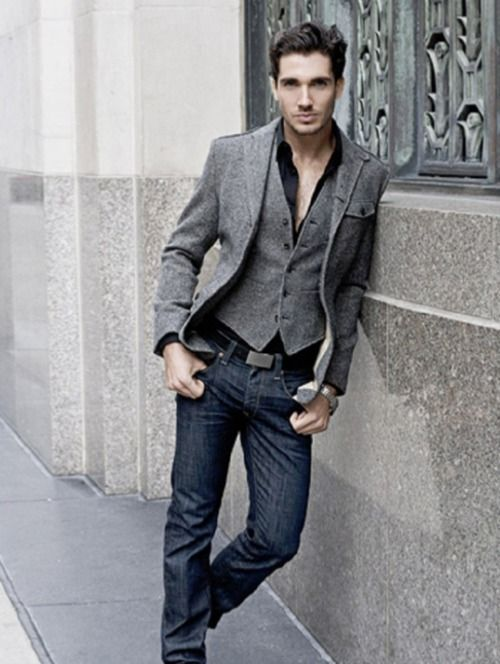 A really classy smart-casual look. Really love the jacket ...