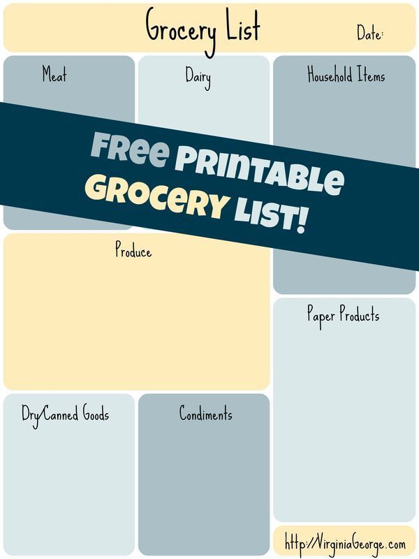 Download your free printable grocery shopping list! Shop in style - free printable grocery shopping list template