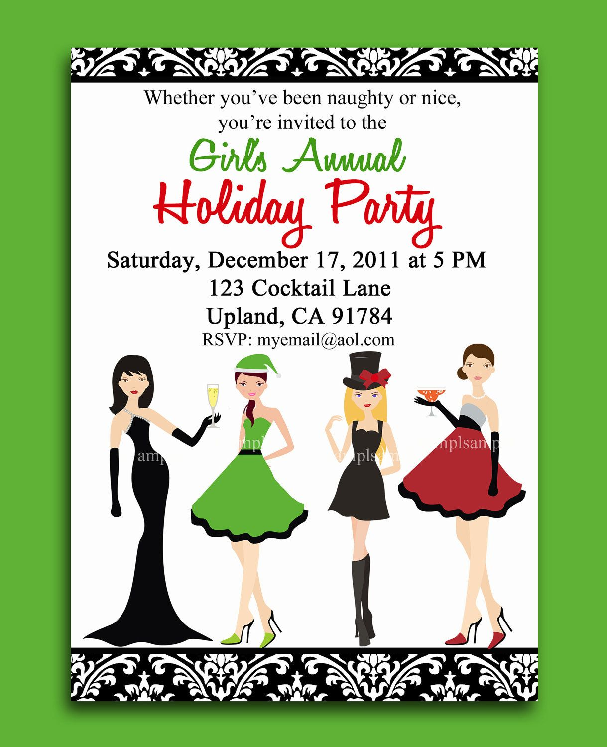 Christmas cocktail party invitation printable girls night out christmas cocktail party invitation printable girls night out 1500 via etsy monicamarmolfo Image collections