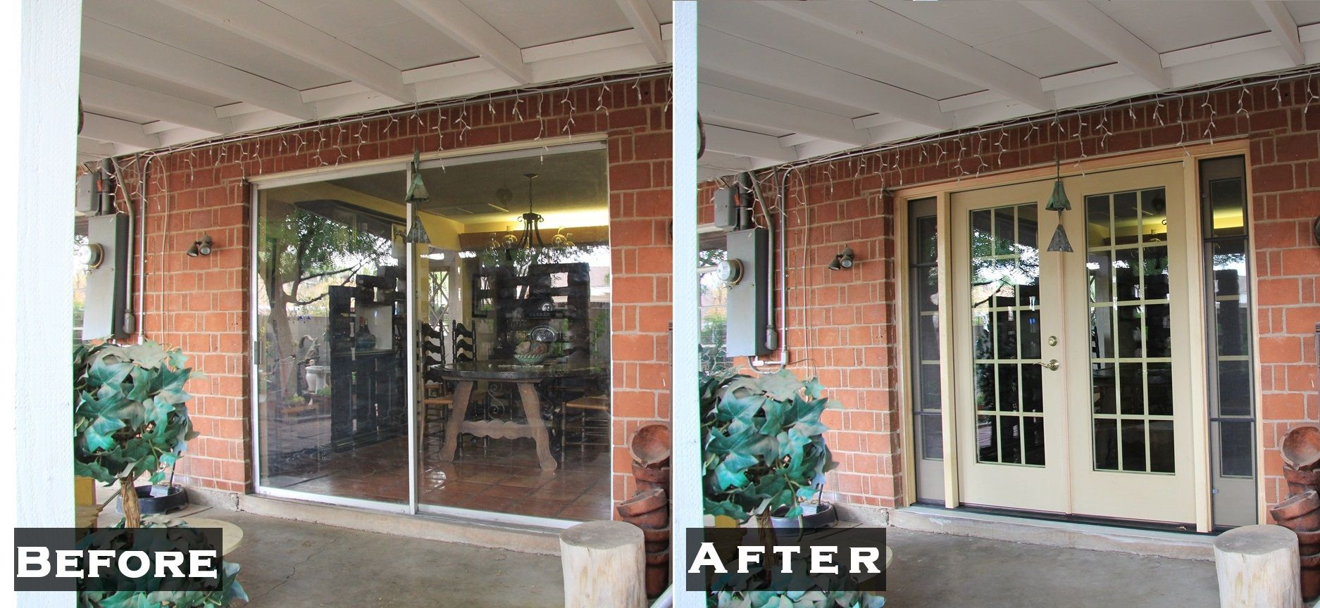 White French Patio Doors On Red Brick Home With Opening And Closing