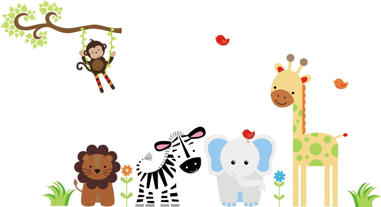 Baby Jungle Animals Border Clip Art