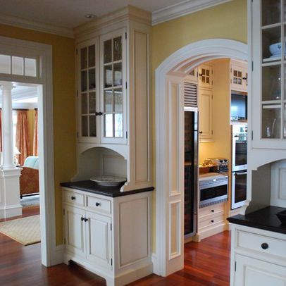 shallow depth upper glass cabinet over counter with lower cabinet on either side of butler. Black Bedroom Furniture Sets. Home Design Ideas