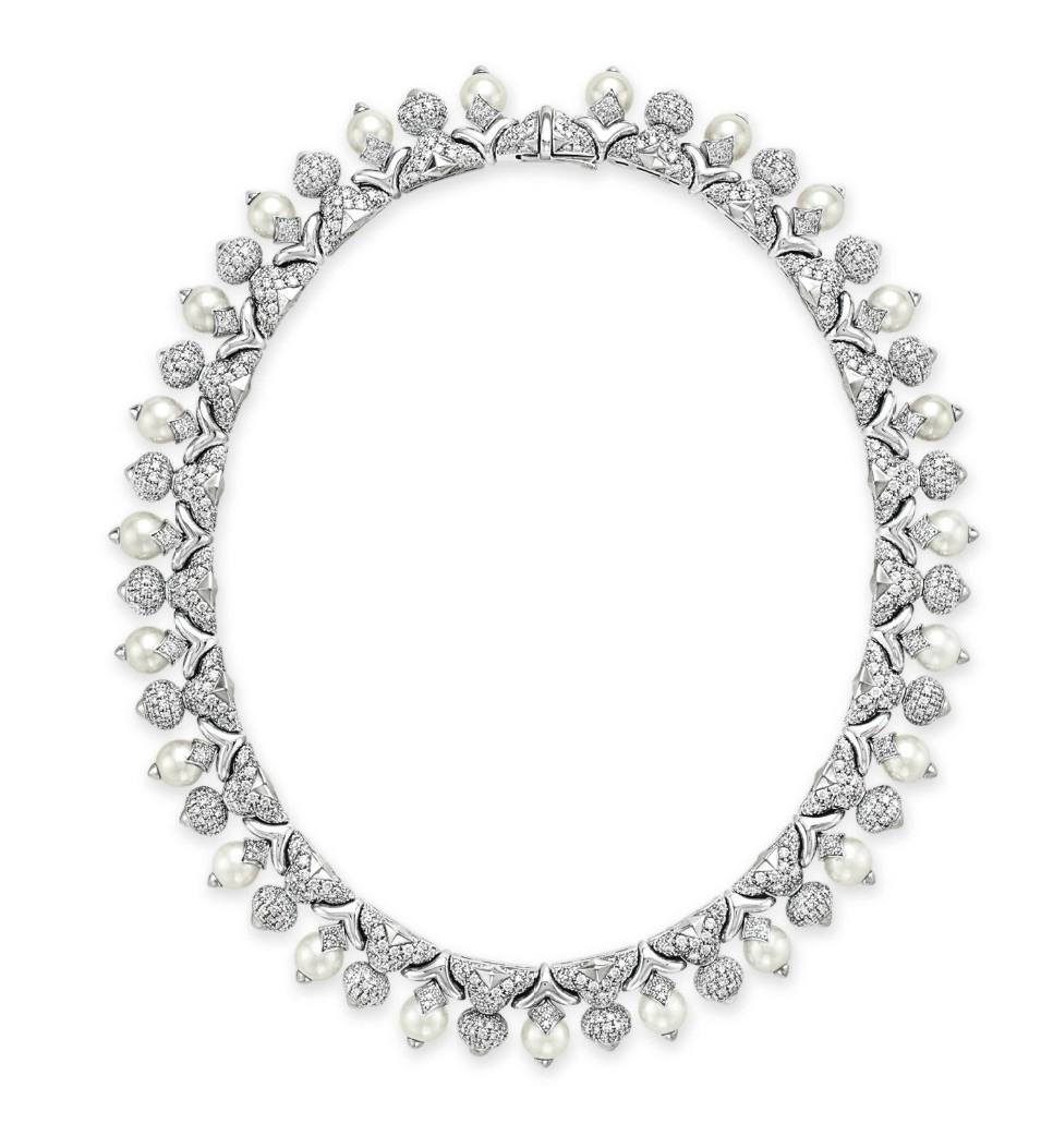 Bulgari Pearl Necklace: A Diamond And Cultured Pearl Necklace By Bulgari.