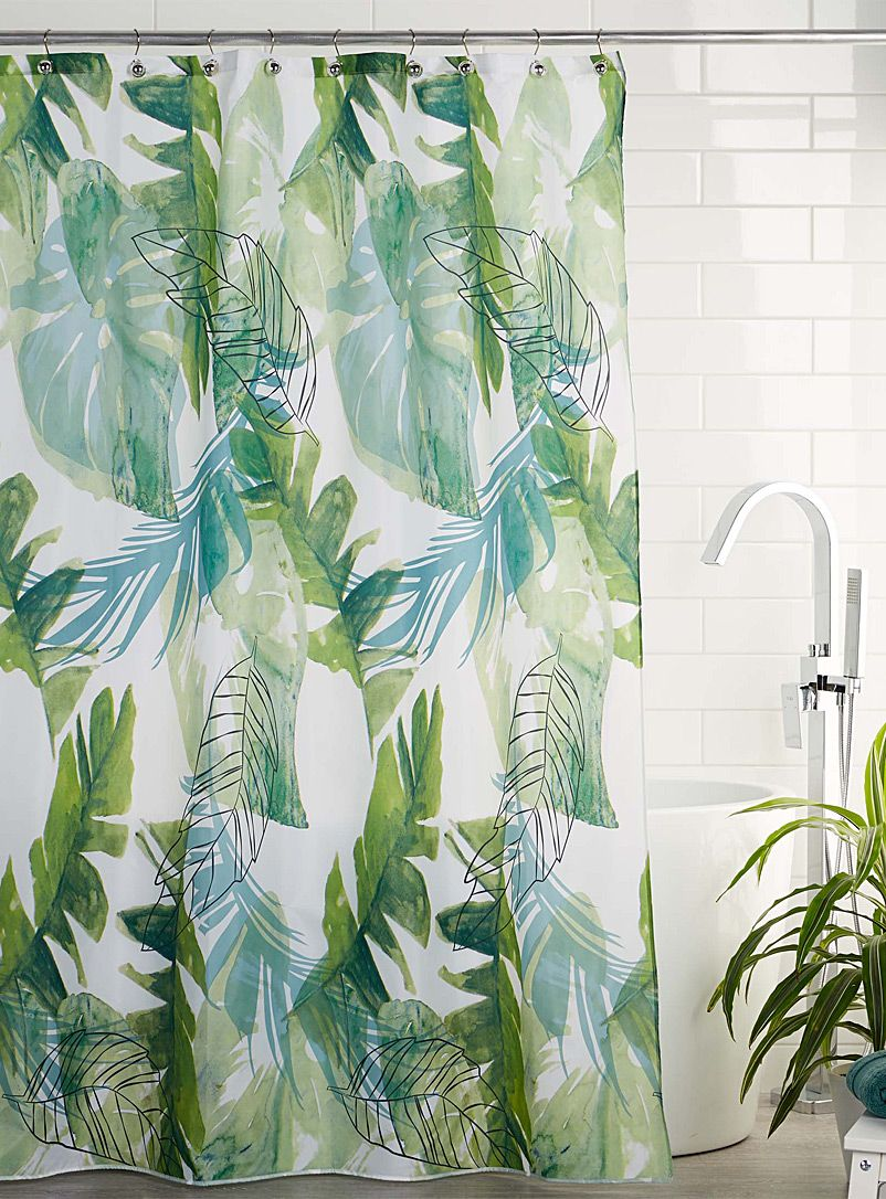 Tropical Leaves Shower Curtain Tropical Shower Curtains Fabric Shower Curtains Curtain Fabric Patterns