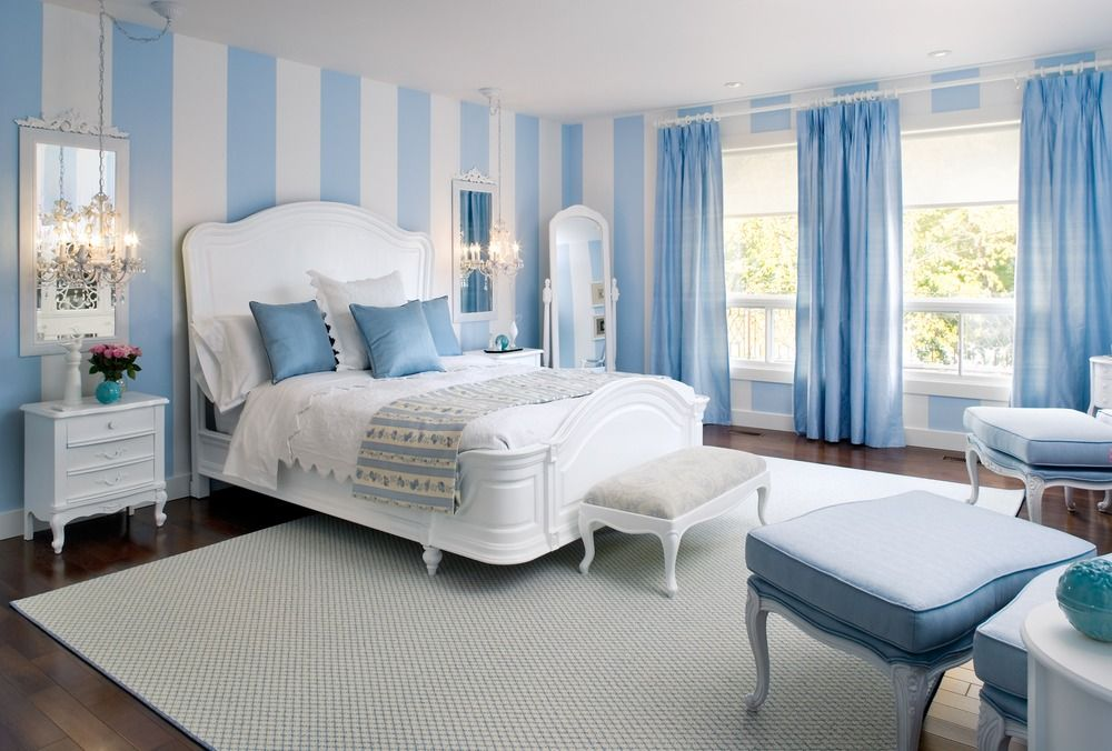 Marvelous The Mighty Power Of Wall Designs! This Sky Blue And White Striped Bedroom  Blends A Modern Yet U0027take Me Backu0027 Feeling.