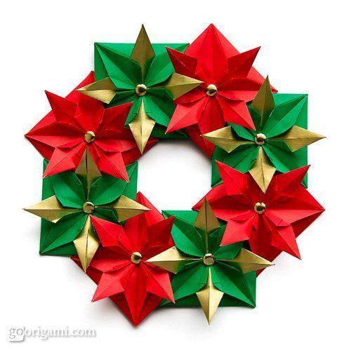 tutorial corona de navidad con origami - Coronas Navidad