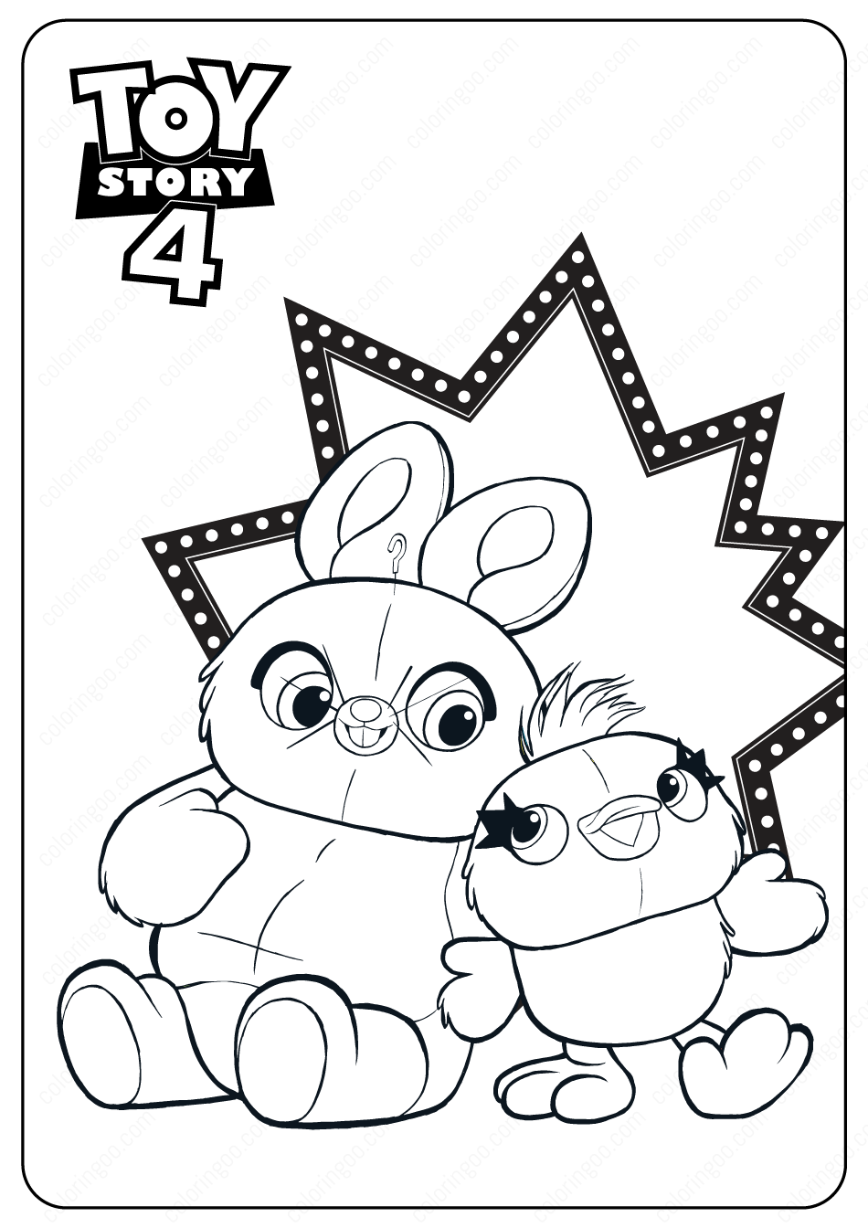 Toy Story 4 Ducky And Bunny Pdf Coloring Pages Toy Story Coloring Pages Free Disney Coloring Pages Bunny Coloring Pages